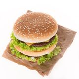 Delicious hamburger over white Royalty Free Stock Photography