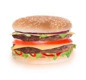 Delicious hamburger over white Stock Photo