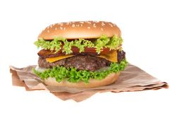 Delicious hamburger over white Royalty Free Stock Photo