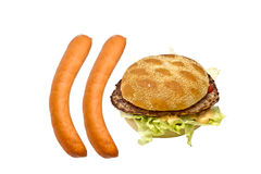 Delicious hamburger and sausages Royalty Free Stock Images