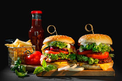 Delicious hamburgers with french fries Stock Photography