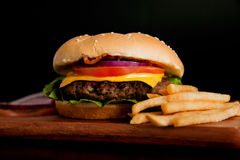 Delicious hamburguer with fries Royalty Free Stock Image
