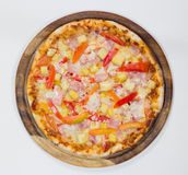 Delicious hawaiian pizza on white background Royalty Free Stock Photography