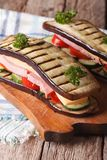 Delicious and healthy aubergine sandwich, vertical Stock Photography