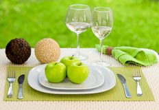Delicious and healthy breakfast, fresh apple Royalty Free Stock Images