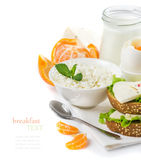 Delicious healthy breakfast of fresh dairy products Royalty Free Stock Photo