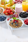 Delicious and healthy breakfast with fruits, berries and cereal Royalty Free Stock Photography