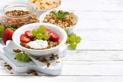 delicious healthy breakfast with fruits, granola Royalty Free Stock Photo
