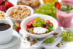 delicious and healthy breakfast with fruits and granola Stock Photo
