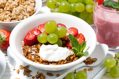 delicious and healthy breakfast with fruits, granola Stock Image