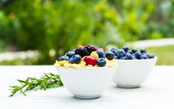 Delicious healthy breakfast in the garden. Corn flakes and forest berries. Blueberries and blackberries Royalty Free Stock Image