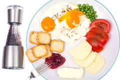 Delicious and healthy breakfast on plate on white Royalty Free Stock Images