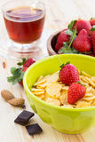 Delicious and healthy breakfast with strawberry and cornflakes Stock Photos