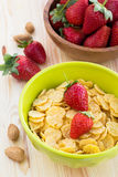 Delicious and healthy breakfast with strawberry and cornflakes Stock Images