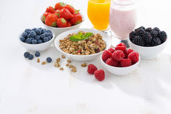 Delicious and healthy breakfast on white wooden background Royalty Free Stock Photography