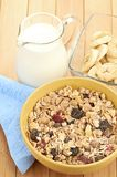 Delicious and healthy cereal in bowl with milk Stock Image