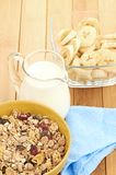 Delicious and healthy cereal in bowl with milk Royalty Free Stock Photography