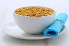 Healthy corn flakes breakfast. Delicious and healthy corn flakes,made  with fresh corn seeds Stock Photos