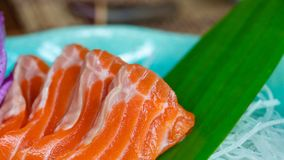 Delicious Healthy Food With Fresh Salmon stock image