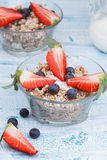 Delicious and healthy granola or muesli with nuts, raisins and b. Erries (blueberries and strawberries) and jug with milk Stock Image
