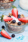 Delicious and healthy granola or muesli with nuts, raisins and b Stock Images