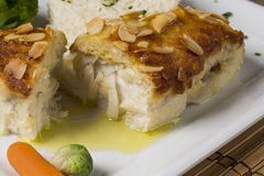 Delicious healthy grilled fish fillet served on a platter with a Stock Images