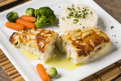 Delicious healthy grilled fish fillet served on a platter with a Royalty Free Stock Photography