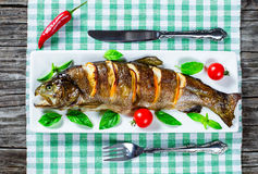 Delicious healthy grilled seafood fish Royalty Free Stock Photography