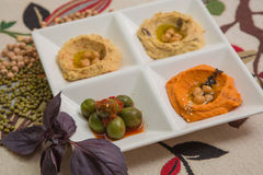 Delicious and healthy hummus Stock Images