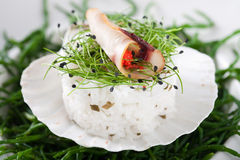 Delicious healthy meal. Delicious meal with rice, vegetables and smoked monkfish with some red caviar Stock Images