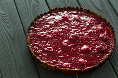 Delicious Healthy Raw Raspberry Tart from Almond Meal and Raspberries Royalty Free Stock Image