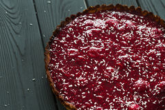 Delicious Healthy Raw Raspberry Tart from Almond Meal and Raspberries, Horizontal, Top View Stock Images