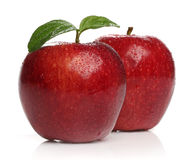 Delicious healthy red apples over white Stock Image