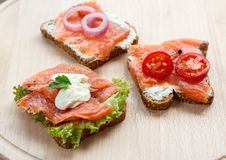 A delicious and healthy sandwich. Delicious Sandwich with smoked salmon Royalty Free Stock Photo