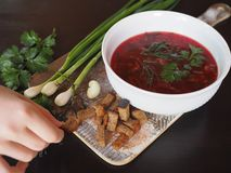 Useful soup borsch and children`s hand holds one cracker. royalty free stock image