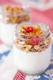 Delicious and healthy yogurt with granola Stock Photo