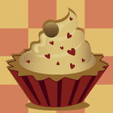 Delicious heart cupcake Stock Image