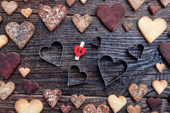 Delicious heart shaped cookies baked with love Stock Photos