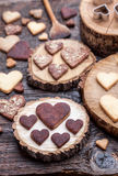Delicious heart shaped cookies baked with love Royalty Free Stock Photo