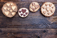 Delicious heart shaped cookies baked with love Stock Photo