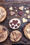 Delicious heart shaped cookies baked with love Royalty Free Stock Images