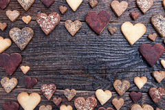 Delicious heart shaped cookies baked with love Royalty Free Stock Photos