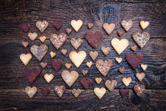Delicious heart shaped cookies baked with love Stock Image