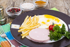 Delicious hearty lunch or breakfast on Plate. Studio Photo Royalty Free Stock Photo