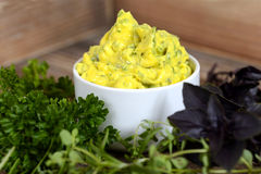 Delicious herb butter. Fresh and delicious herb butter in a small pot decorated with different kind of herbs around like red basil, parsley and rosemary. Image royalty free stock photography