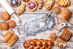 Delicious holiday baking background with ingredients and utensils Royalty Free Stock Photos