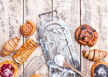 Delicious holiday baking background with ingredients and utensils Royalty Free Stock Images