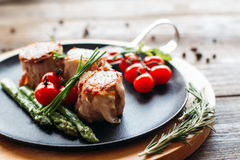 Delicious holiday dinner on a wooden table Stock Photo