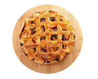 Delicious home baked apple pie on cutting board Royalty Free Stock Photos