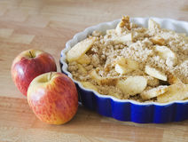 Delicious home made apple crumble. Pie and apples Stock Photos